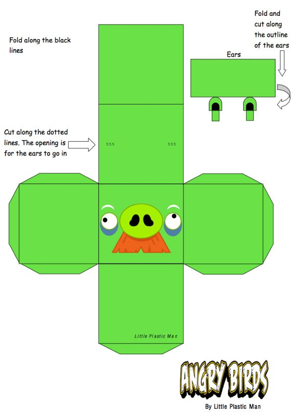 Papertoys angry birds paper toys angry birds and bird for Angry bird pig template