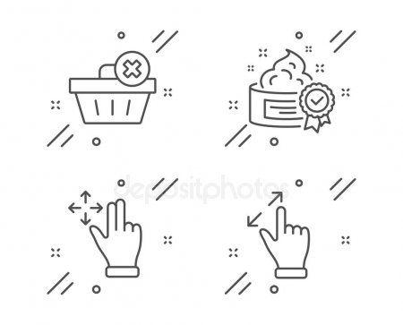 Cream Delete Order Move Gesture Line Icons Set Touchscreen Gesture  Stoc