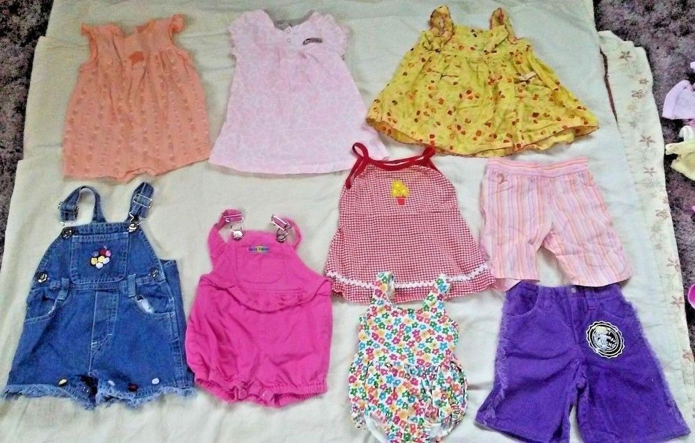 Lot Of 9 Baby Girl Clothes Size 12 Months Summer Outfits Dress