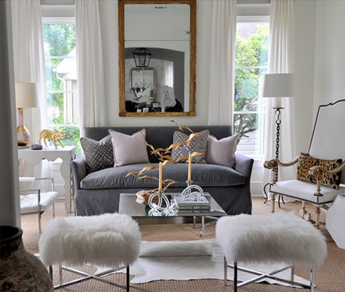 Attirant Room Of The Day ~ Kelly Wearstler Ombre Maze Lilac Pillows White Drapes Gold  Leaf Mirror Blue Slipcover Sofa Lilac Pillows Art Deco Mirrored Coffee  Table ...
