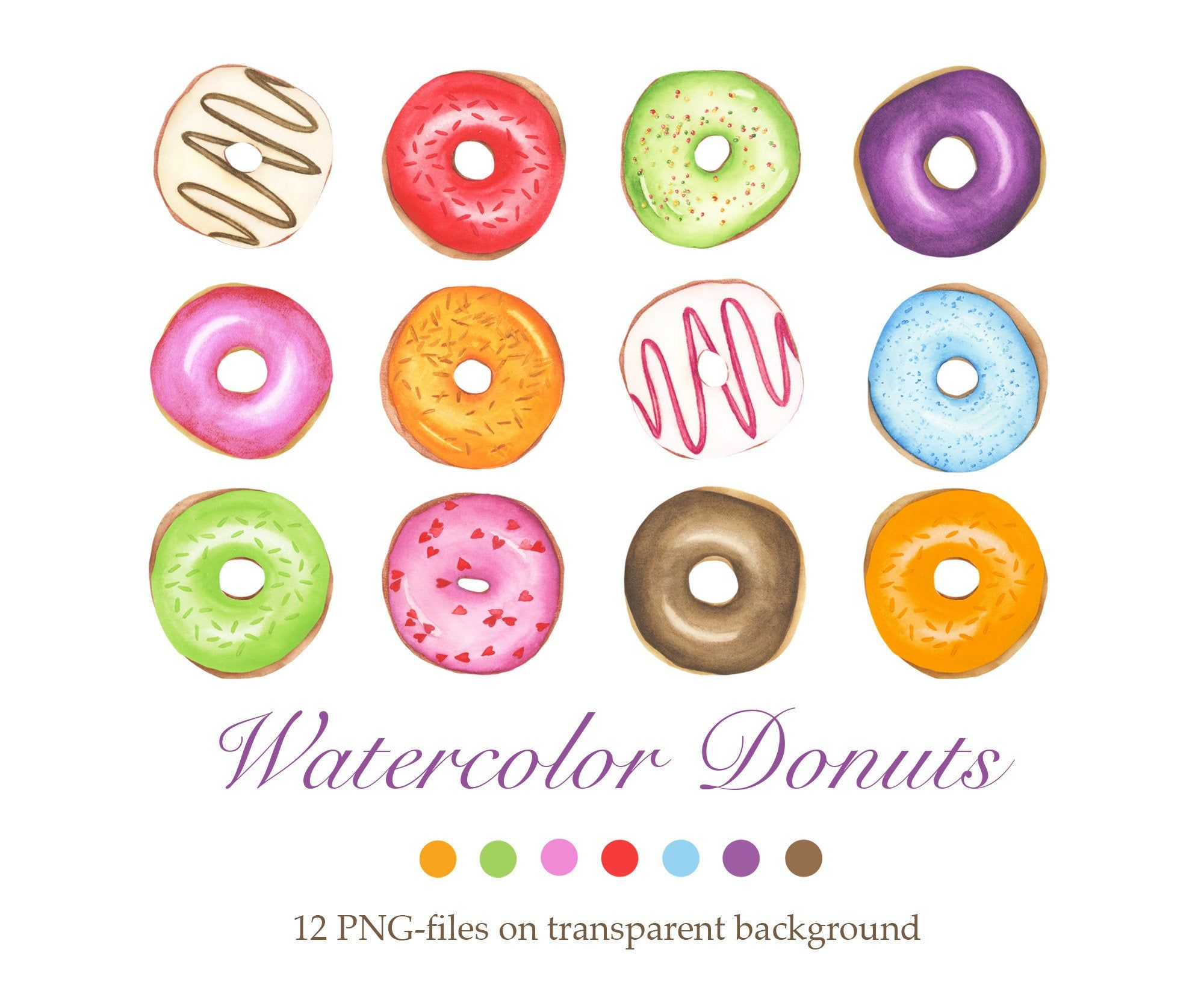 Watercolor Donut Clipart, Color Donuts, Bakery Clipart ... (2000 x 1636 Pixel)