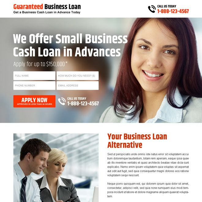 small business cash loan in advance lead capture landing page - loan templates