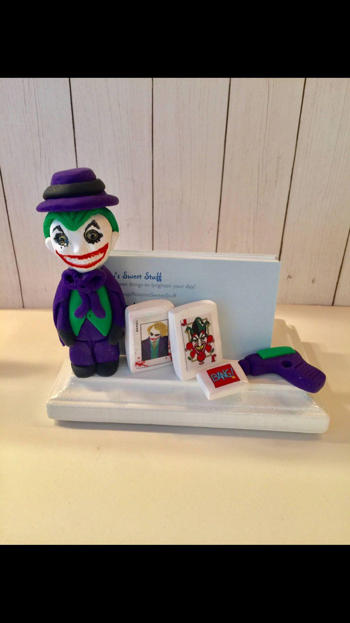Polymer clay Joker business card holder, gift idea, Batman fan ...