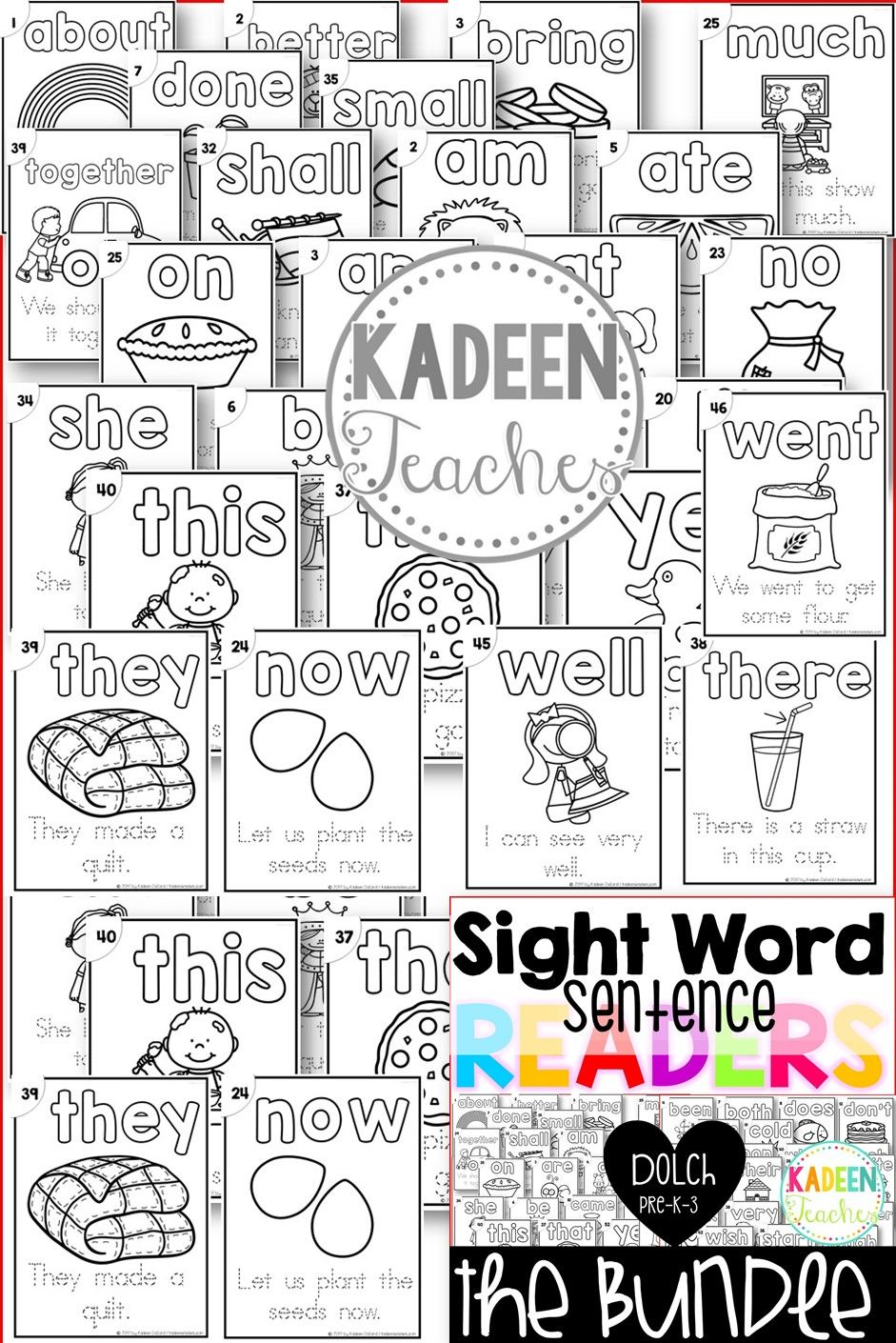 Sight Word Sentence Readers-Dolch Pre-K-3 Bundle B/W | Pinterest