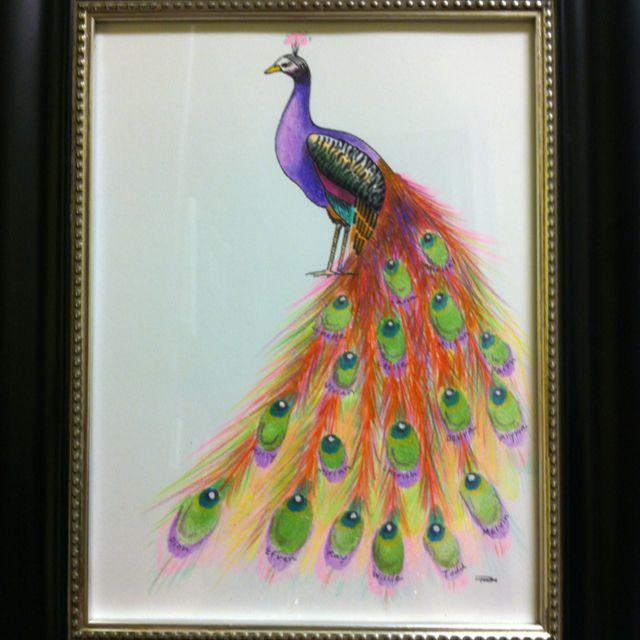 Retirement Gift Peacock Fingerprint Art Drawing By My
