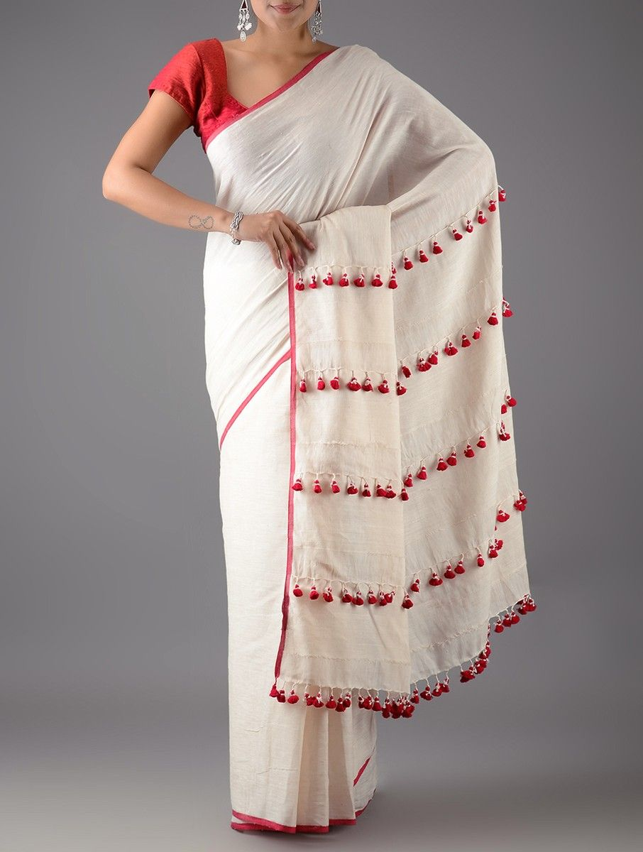 2eddf73a427 Buy Ivory Red Cotton Linen Saree with Tassels Sarees Woven Stories Colorful  and silk Online at Jaypore.com