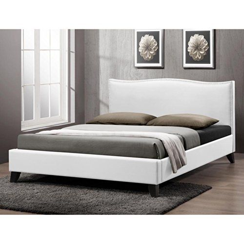 Baxton Studio CF8276-QUEEN-WHITE Battersby Modern Bed with ...