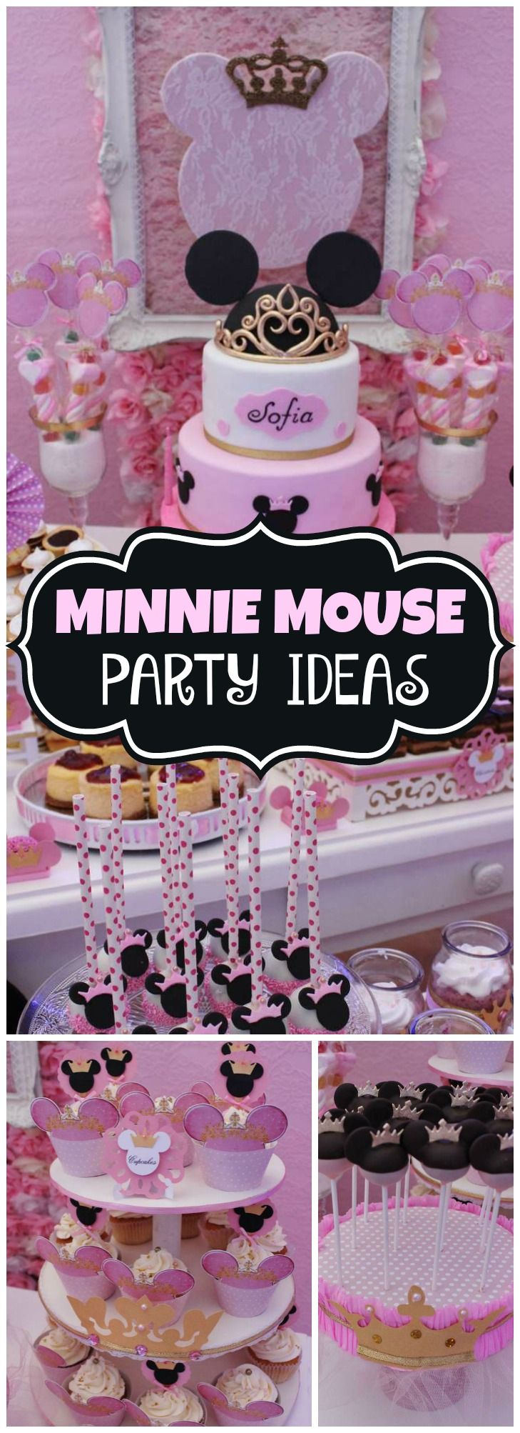 Pink And Black Minnie Mouse Decorations Minnie Mouse Baptism Minnie Princess Baptisms Princess