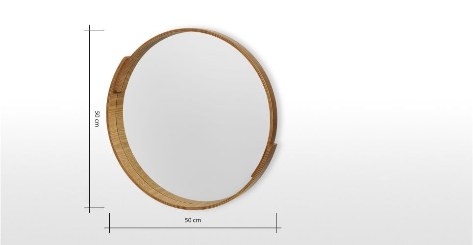 V A Plywood Round Mirror 50 X 50 Cm Natural Made Com Round
