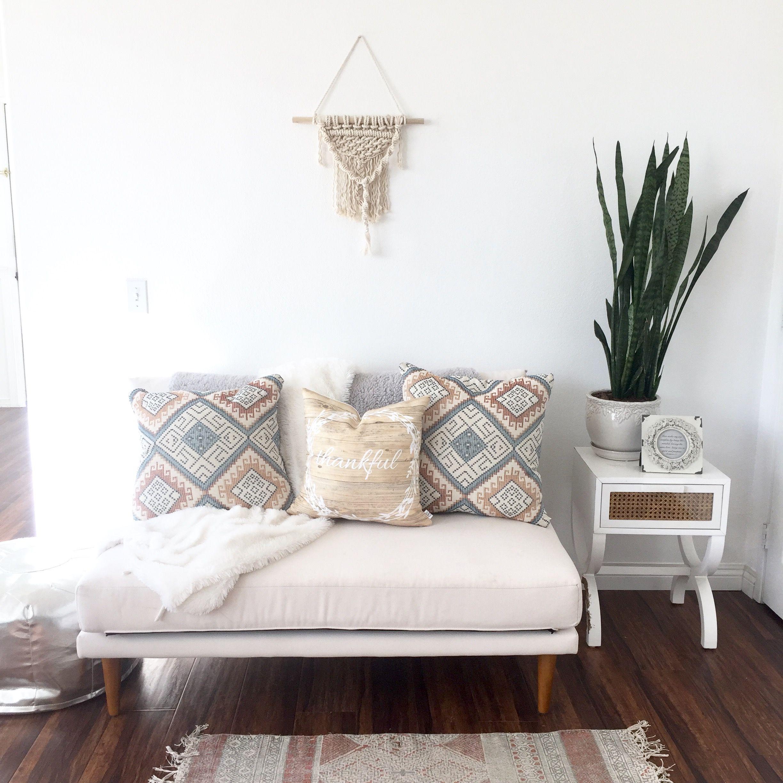 white walls, macrame, plant, jungalow, white couch, minimalist, boho ...