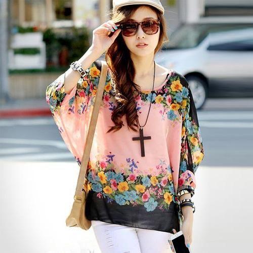 8027c5dfddc Women s Chiffon Tops 2018 New Fashion Summer Shirt Boho Style Batwing  Casual Blouses Blusas 4XL 5XL 6XL Plus Size Women Clothing