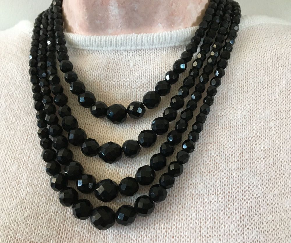 SOLD Vintage Laguna Four Strand Black Faceted Crystal Necklace 1950s Costume Jewelry #Laguna & Vintage Laguna Four Strand Black Faceted Crystal Necklace 1950s ...