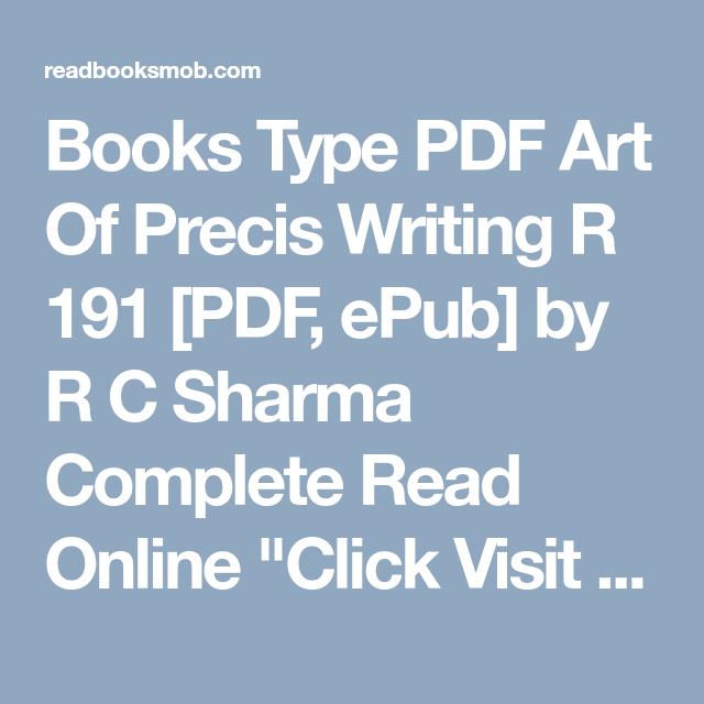 Books Type PDF Art Of Precis Writing R 191 [PDF, ePub] by