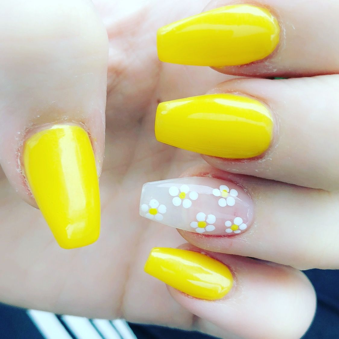 yellow daisy coffin nails prom