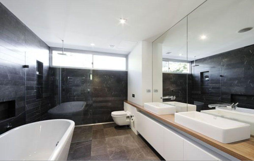 Contemporary House Interior. Minimalist bathroom floor tile and beautiful natural Modern house