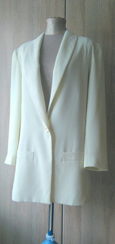 1980s FRANK USHER designer vintage lemon - cream tuxedo dress formal ...
