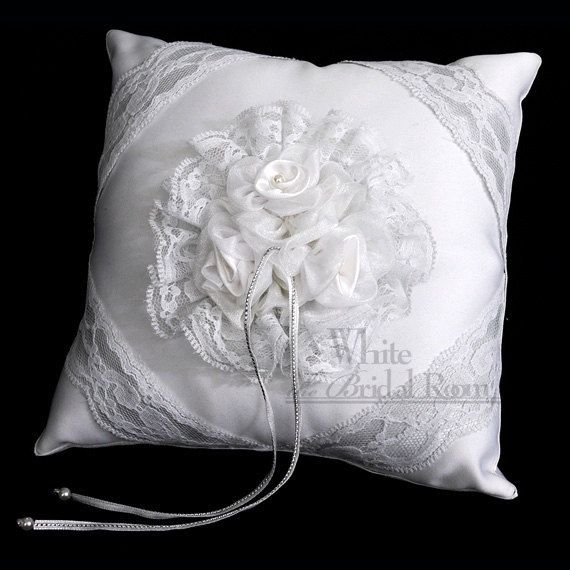 Wedding Pillow Wedding Decoration Black and White Rolled Rosette Ring Bearer Pillow