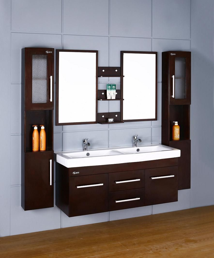 Hot Item Wooden Double Sink Wall Mounted Bathroom Vanities D1108 Small Bathroom Vanities Small Bathroom Sinks Wall Mounted Bathroom Cabinets [ 1064 x 884 Pixel ]