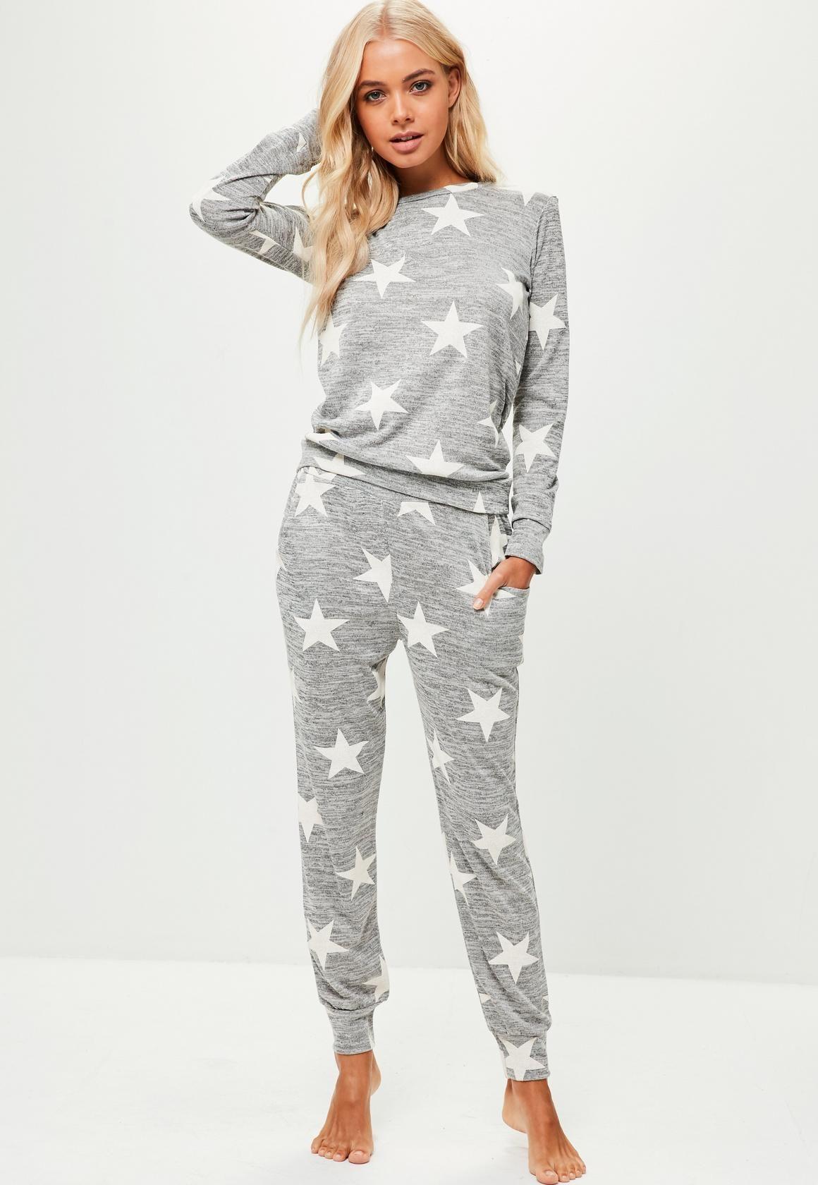 Missguided - Grey Star Print Lounge Set Satin Pajamas 99abdd942