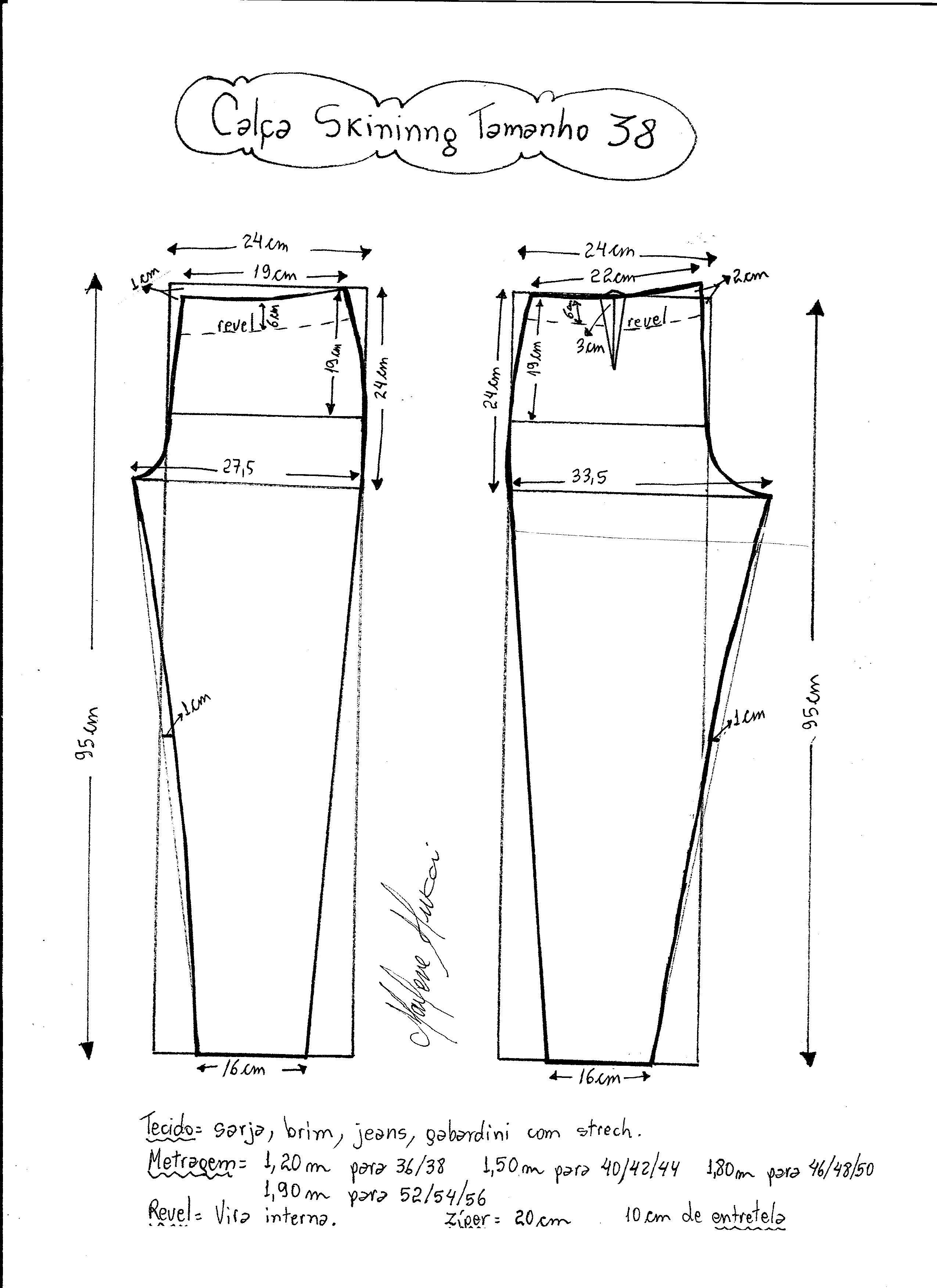 Calça Skinny | Molde, Costura y Patrones