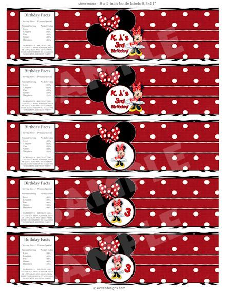 Minnie Mouse Water Bottle Labels - Printable file Printable - water bottle label template