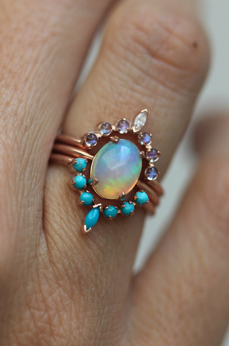 Fire Opal Turquoise Moonstone Ring Set But Diamonds Instead Of Moonstone For My Birthstone Minimal Wedding Ring Sets Unique Turquoise Ring Three Ring Sets