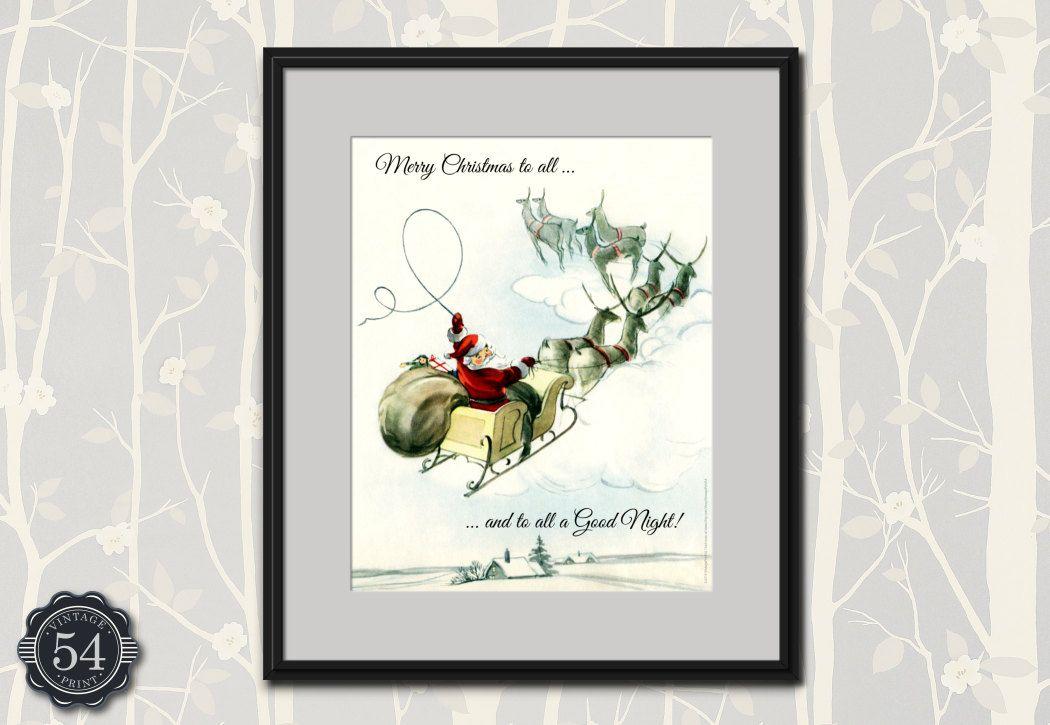 Vintage Santa Claus Art Print Holiday Decor Merry Christmas To All ...