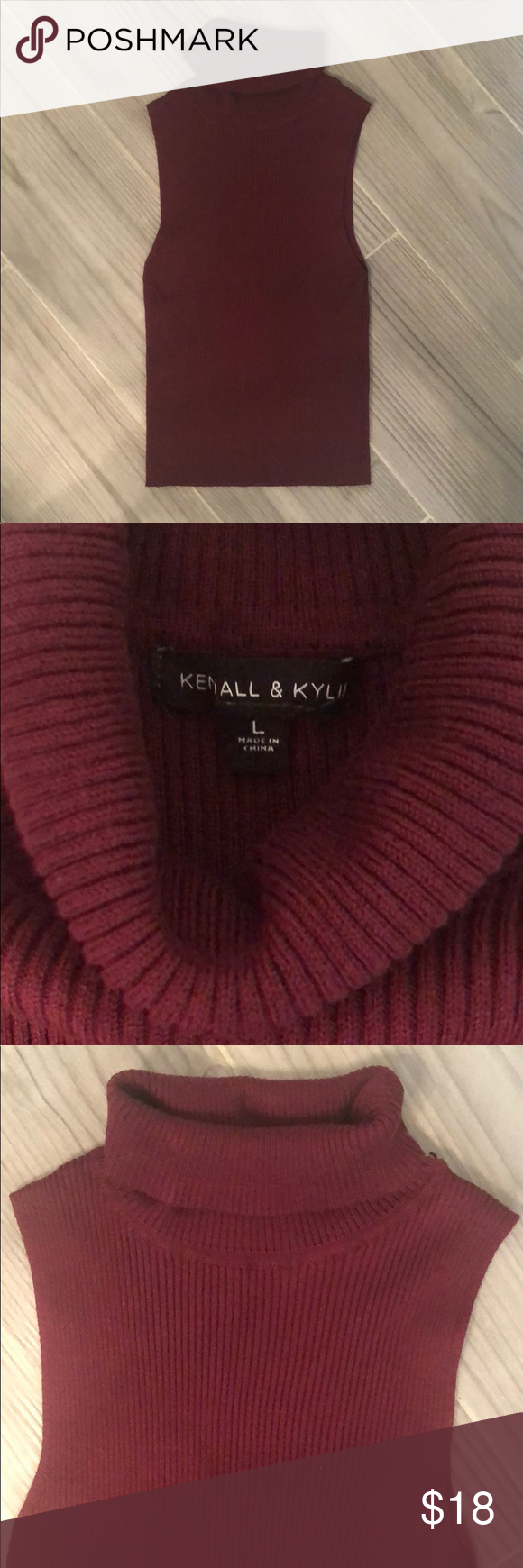 efd51a55a8d7c4 Kendall & Kylie Ribbed Turtleneck Sweater Tank Like new Kendall & Kylie  Ribbed Turtleneck sweater tank. Slightly cropped, stretchy material.