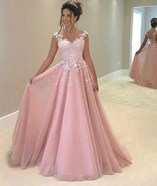 Champagne v neck tulle lace applique long prom dress, evening dress ...