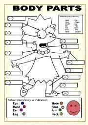English worksheet BODY PARTS LISA SIMPSON TEFL