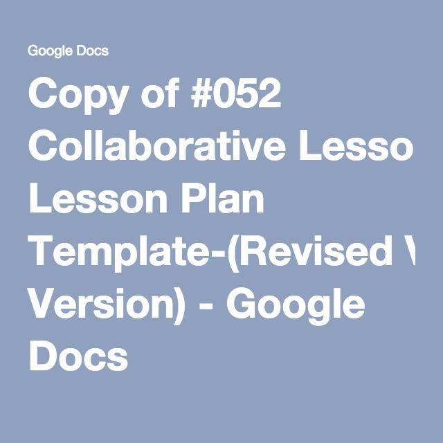 Collaborative Lesson Plan Template Revised Version Google Docs