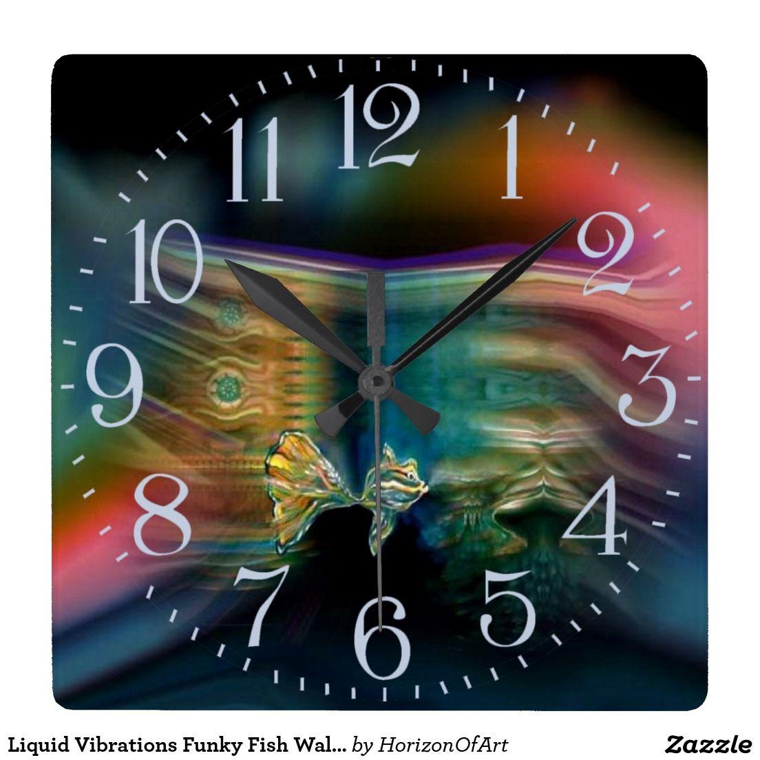Liquid vibrations funky fish wall clock wall clocks and clocks liquid vibrations funky fish wall clock amipublicfo Images