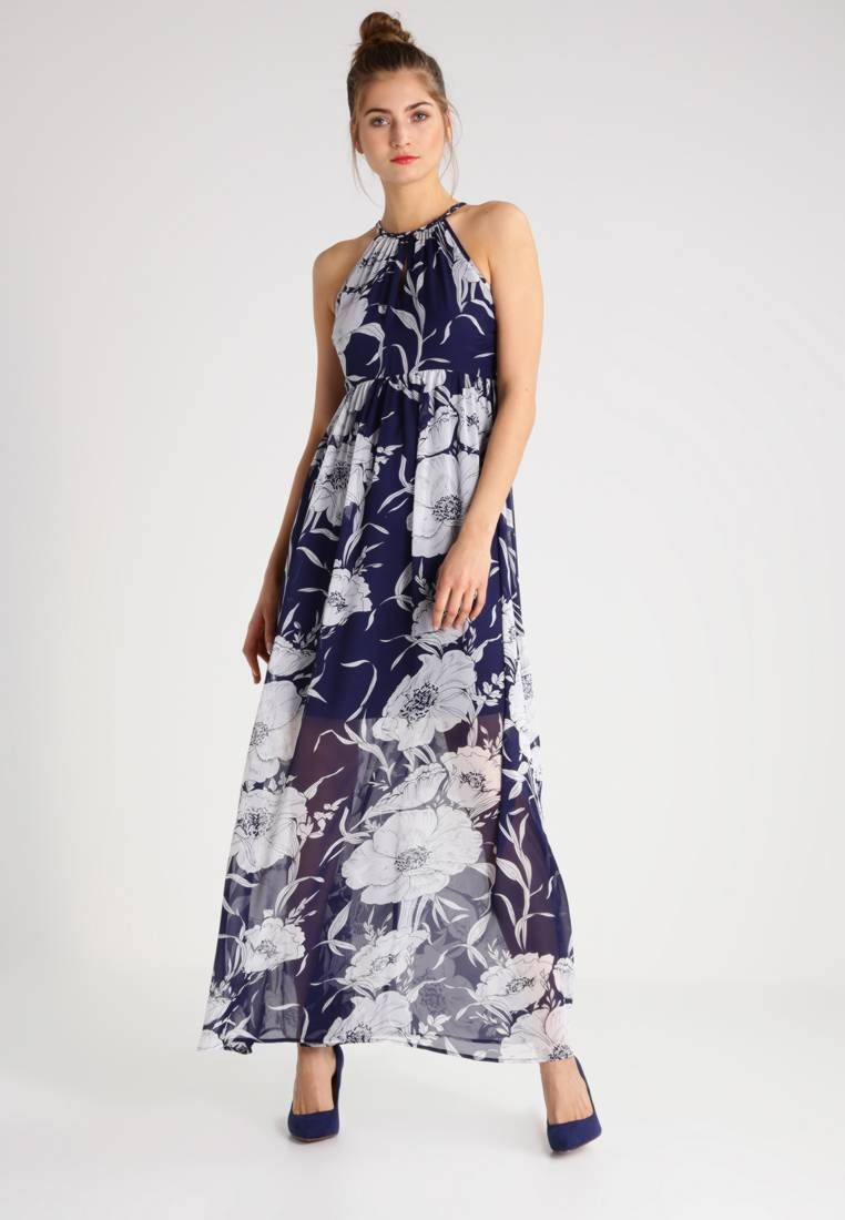 "Maxi dress - peacoat/cloud dancer. Lining:95% polyester, 5% spandex. Outer fabric material:100% polyester. Fastening:zip. Total length:59.0 "" (Size 8). Details:bust darts,slip. Length:long. Fit:regular. Pattern:floral. Neckline:roun..."