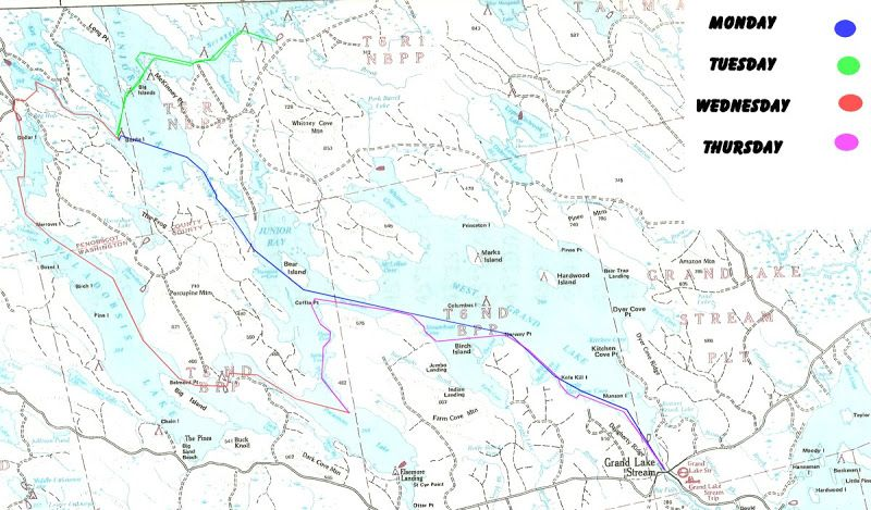 Grand Lake Stream Maine Map.Four Day Loop Paddling Trip Through West Grand Junior Scraggly