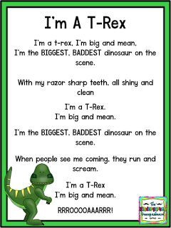 I M A T Rex Poem Great Poem For A Dinosaur Unit Dinosaur Poem Click Here To Get Your Dinosaur Activities Preschool Dinosaur Theme Preschool Preschool Songs