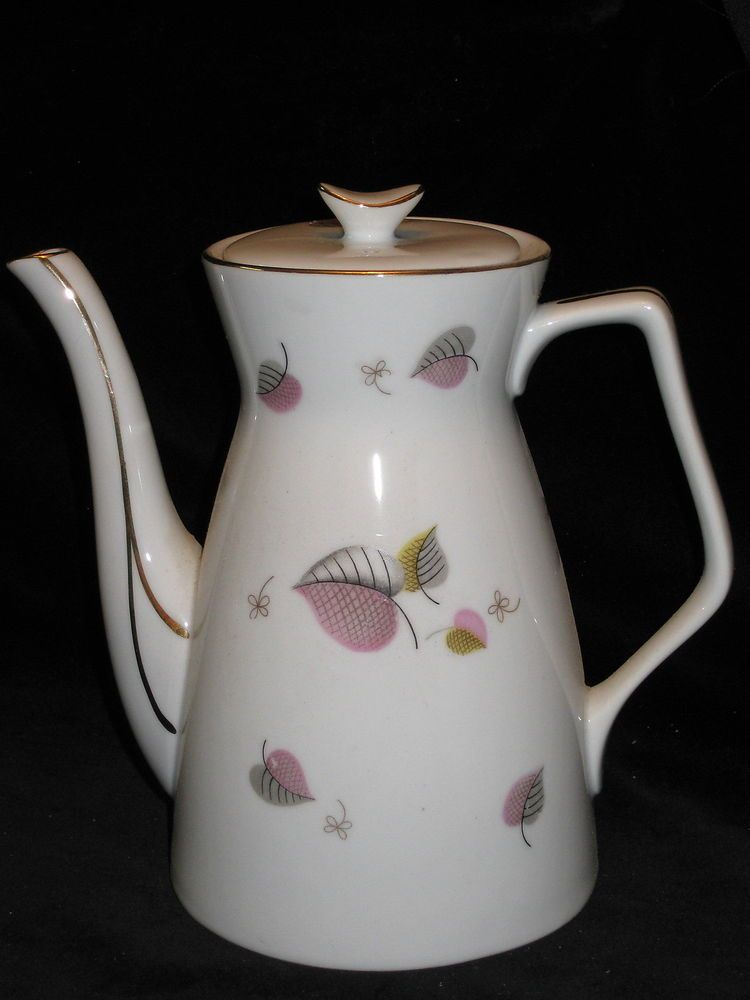 gray leaves yellow vintage pink Teapot