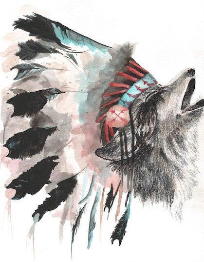 Wolf With Headdress : headdress, Devyn's, Headdress, Tattoo,, Native, American, Wolf,, Print