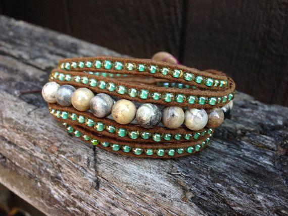 River Stone Wrap Bracelet by salmoninthebeak on Etsy, $60.00