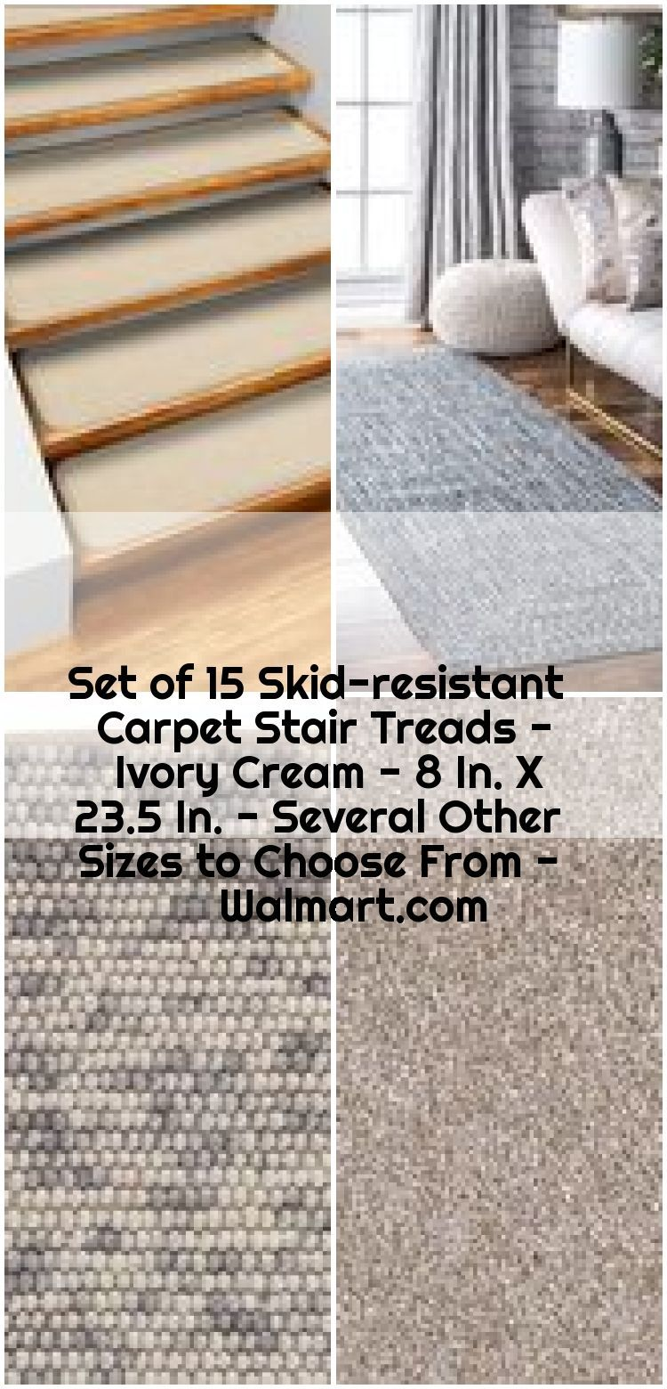 Best Set Of 15 Skid Resistant Carpet Stair Treads Ivory Cream 640 x 480