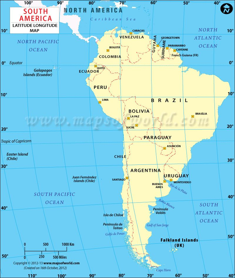 South American Lat Long Map World History Geography Pinterest - Argentina map latitude