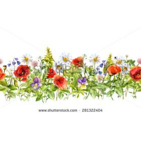 Flower Garden Clip Art Free Floral horizontal border for fashion