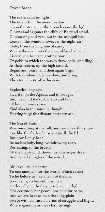 dover beach summary of each stanza