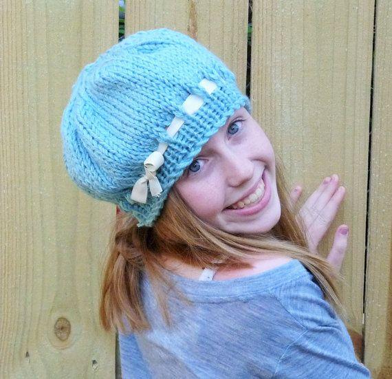 Girls Light Blue Ribbon Hat Blue Knit Hat Girls by lovemyknits
