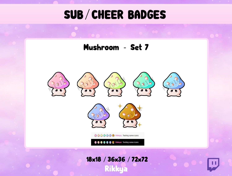 Premade stream design Twitch BitCheer Sub Badge Rainbow Cute Moon Instant download  P2U Gamer pack