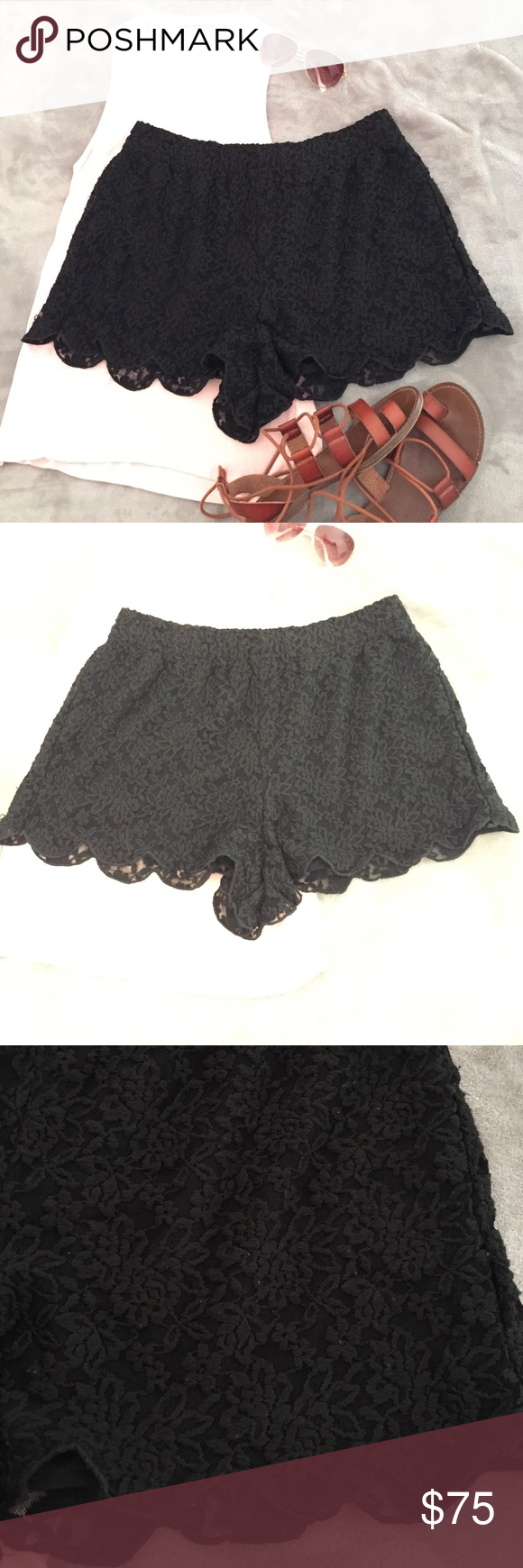 Free People Embroidered Scalloped Hem Lace Skort Beautiful black embroidered lace skort, lined. Overall very good condition-some minor pilling that can easily be removed, only worn a few times as it has always been a bit big on me. It's so cute I wish it still fit me :( Free People Shorts Skorts
