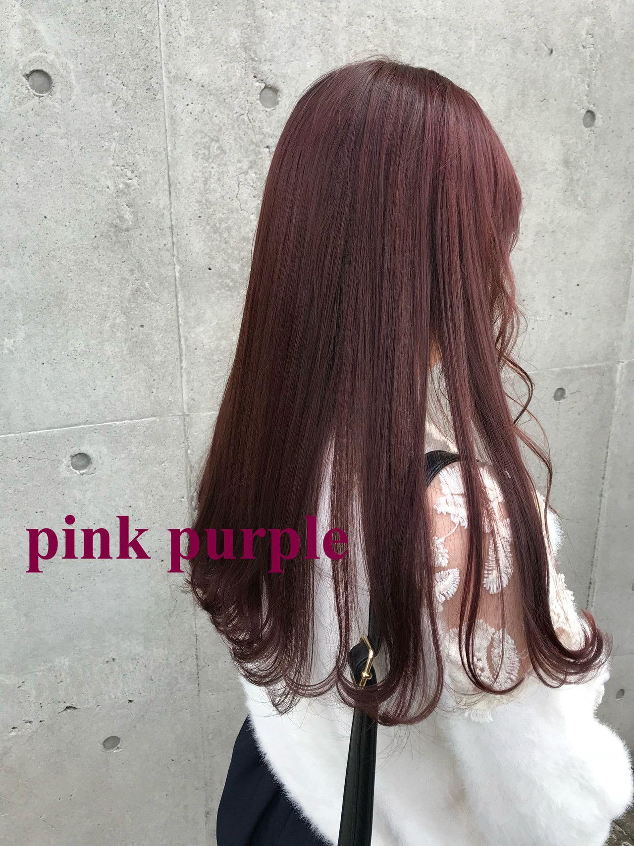 ピンク パープル クールなヘアスタイル ヘアスタイル ロング