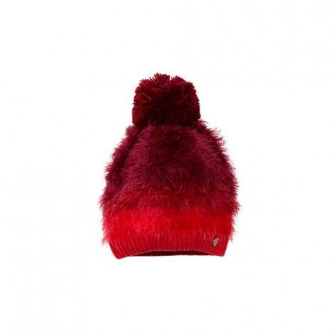 Ombré red pompom hat