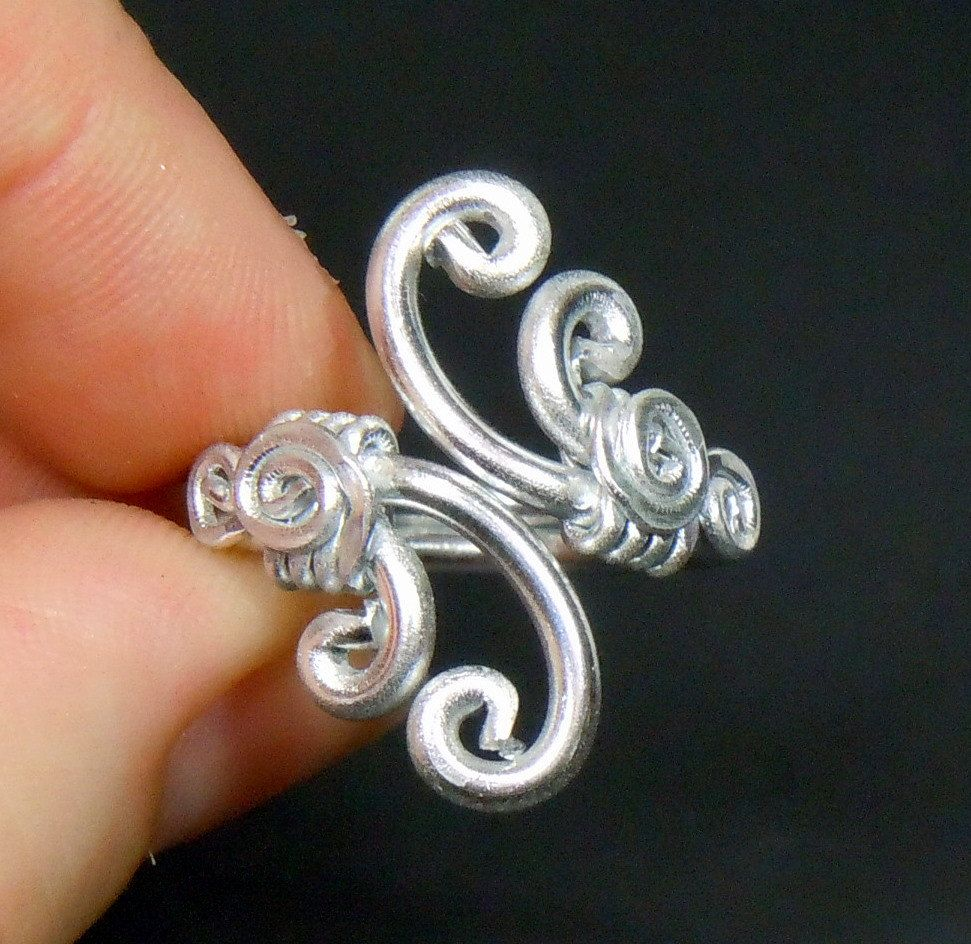 Spiral Waves Adjustable Ring   Spiral, Ring and Wire wrapping