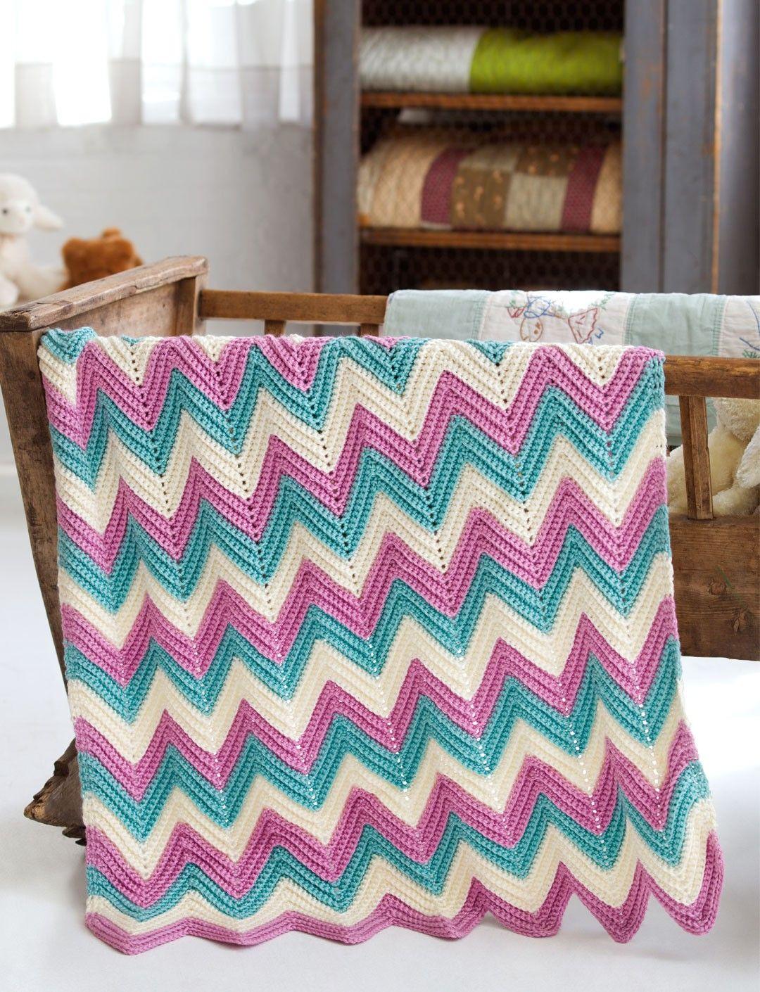 Easy Knit Zig Zag Pattern : Yarnspirations caron zig zag baby blanket patterns