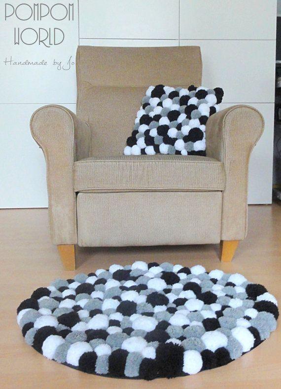 pom pom rug fluffy carpet white grey black by. Black Bedroom Furniture Sets. Home Design Ideas